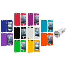 Color Hard Rubberized Covered Case+USB Charger for iPod Touch 5th Gen 5G 5