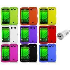 Color Hard Rubberized Case Cover+USB Charger for Blackberry Torch 9850 9860