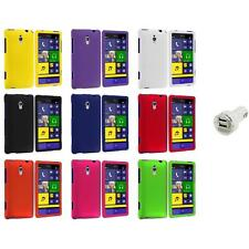 For HTC Windows Phone 8XT Color Hard Snap-On Rubberized Case Cover+Dual Charger
