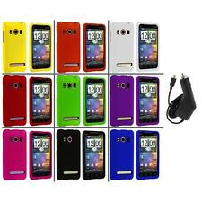 Color Hard Snap-On Rubberized Case Cover+Charger for HTC Sprint EVO 4G