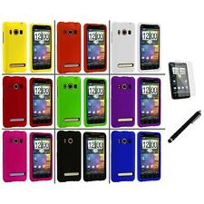 Color Hard Snap-On Rubberized Case Cover+LCD Film+Stylus for HTC Sprint EVO 4G