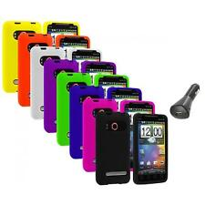 Color Silicone Gel Soft Case Cover+Car Charger for HTC Sprint EVO 4G Accessory