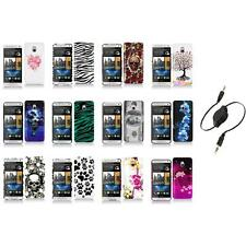 For HTC One Mini M4 Design Hard Snap-On Case Skin Cover Accessory+Aux Cable