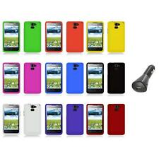 For Huawei Premia 4G M931 Color Hard Snap-On Rubberized Case Cover+Car Charger
