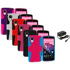 For LG Google Nexus 5 Color Hybrid Mesh Rugged Hard/Soft Case Cover+Wall Charger