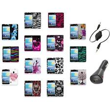 For LG Lucid 2 VS870 Color Hard Design Rubberized Case Cover+Aux+Charger
