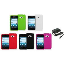 Silicone Color Soft Gel Case Cover+Wall Charger for LG Optimus Elite LS696 Phone