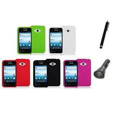 Silicone Color Soft Gel Case Cover+Charger+Pen for LG Optimus Elite LS696 Phone