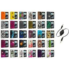 For LG Optimus F6 Hard Design Snap-On Rubberized Skin Case Cover Aux Cable