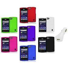 Color Hard Snap-On Skin Case Cover+White Charger for LG Optimus M+ Plus MS695