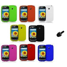 Silicone Rubber Color Gel Skin Case Cover+Mini Stylus for LG Net10 Optimus Net