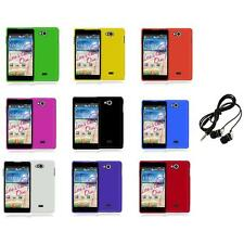 For LG Spirit 4G MS870 Color Hard Snap-On Rubberized Case Cover+Headphones