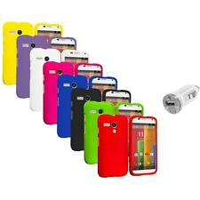 For Motorola Moto G Hard Rubberized Matte Snap-On Case Cover USB Charger