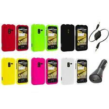 Color Hard Snap-On Rubberized Case Cover+Aux+Charger for Samsung Conquer 4G D600