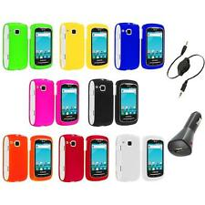 Color Hard Snap-On Skin Case Cover+Aux+Charger for Samsung Doubletime I857 Phone