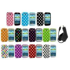 TPU Polka Dot Case Cover Accessory+Charger for Samsung Galaxy S3 S III i9300