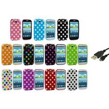 TPU Polka Dot Case Cover Accessory+USB Cable for Samsung Galaxy S3 S III i9300