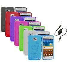 Flower TPU Case Skin Cover+Aux Cable for Samsung Attain Galaxy S2 S II i9100