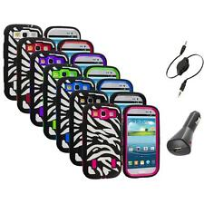 Zebra Hybrid Case Cover+Built Protector+Aux+Charger for Samsung Galaxy S3 S III