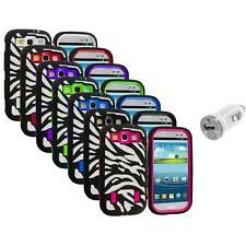 Zebra Hybrid Case Cover+Built Protector+USB Charger for Samsung Galaxy S3 S III