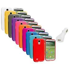 TPU Plain Rubber Gel Case Cover+White Charger for Samsung Galaxy S4 SIV i9500