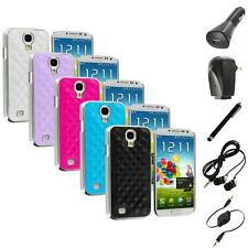 Leather Quilted Chrome Case Cover+Accessories for Samsung Galaxy S4 S IV i9500