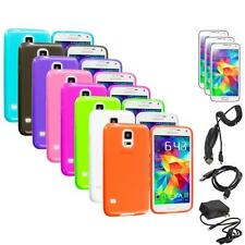 For Samsung Galaxy S5 SV TPU Transparent Soft Case Cover + Chargers+Screen Film