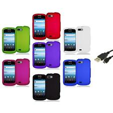 Color Hard Snap-On Rubberized Case Cover Accessory+USB Cable for ZTE Fury N850