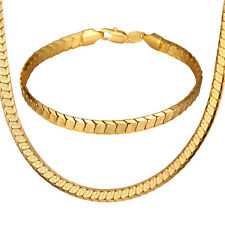 Shiny 18K Gold Plated Chain Necklace Bracelet Sets 22inch Jewelry Gift for Men