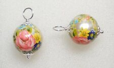 12mm Tensha Pearl with Roses INTERCHANGEABLE Earring Charms Sterling Silver