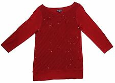 Covington Petites Womens Red Sequined Blouse Dressy Sweater Top M or L