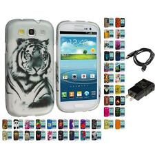 Design Hard Rubberized Skin Case for Samsung Galaxy S3 S III Phone Charger