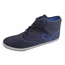 Mens Voi Jeans Navy Canvas Hi Top Designer Branded Trainers Plimsoles Shoes