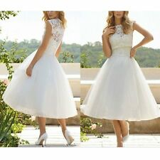 White Floral Lace Formal Short Wedding Tulle Tutu Dress Party Bridal Gown Prom