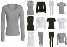Ladies Thermal Lace Vest Short Long Sleeved T-Shirt Leggings Black Grey White