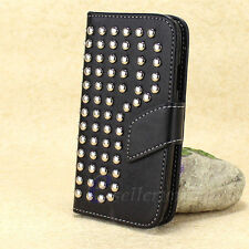 Flip Leather Wallet Handbag Studded Case Cover For Samsung Galaxy SIII S3 I9300