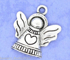 Wholesale Lots Silver Tone Heart&Angel Charms Pendants 21x19mm