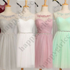 New Short Tulle Bridesmaid Dress Evening Party Cocktail Gown Prom Custom Size 6+