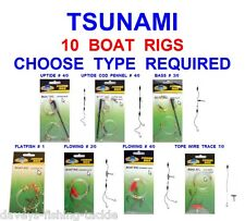 10 TSUNAMI BOAT RIGS SEA FISHING BOAT ROD LURES COD BASS WIRE TRACE TOPE CONGER