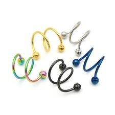 Double Twisted Eyebrow Barbell Anodized Earring Lip Navel Piercing Bar 16g 8mm
