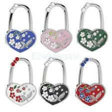 Heart Rhinestone Flower Foldable Tote Bag Handbag Purse Table Hook Hanger Holder