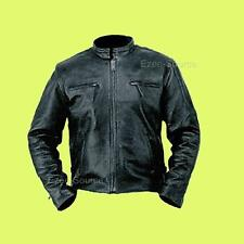 MENS NAKED COWHIDE LEATHER MOTORCYCLE OPEN COLLAR CLUB JACKET Z/O LINER - K1T