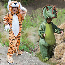 Boys Girls Triceratops Or Tiger Costume Dinosaur Fancy Dress Animal All In One