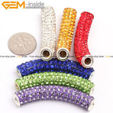 Curved Czech Crystal Rhinestone Beads 9x48mm Tube Pave Beads Free Shipping