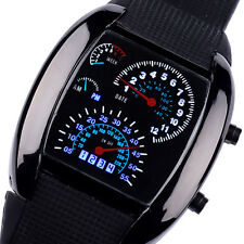 NEW Sports RPM Turbo Blue Flash LED Sports Car Speed Meter Dial Mens Watch