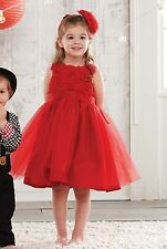 NEW! RED Mud Pie CHRISTMAS Holiday Baby Girl Toddler Red Rosette Party Dress
