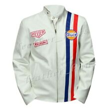 Stylish Steve McQueen White Genuine Leather Gulf Biker/Motorcycle Jacket #518