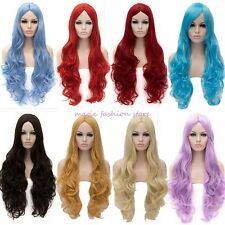 UK Sell Long Curly Straight Full Head Wig Cosplay Party Fancy Dress Free Ship U0
