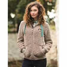 Horseware Full Zip Fluffy Fleece Hoody Womens Mocha Track Jacket Sweater