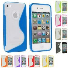 TPU Color Clear S-Shape S-Line Rubber Skin Case Cover for iPhone 4S 4G 4